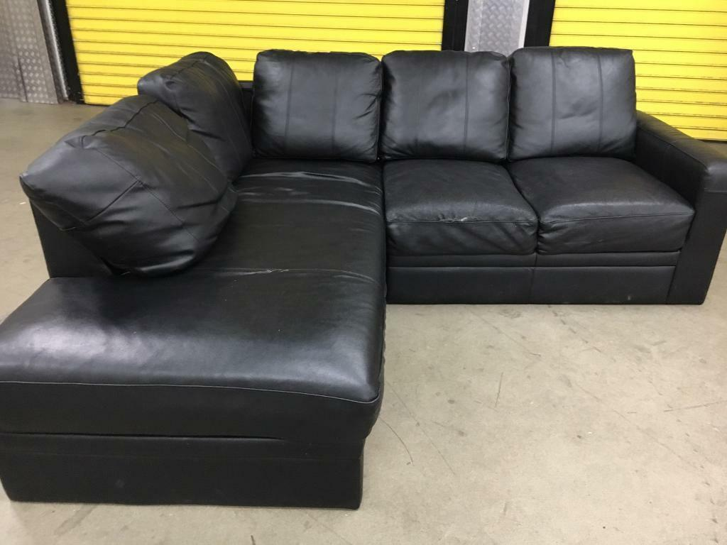 Black Leather L Shape Corner Sofa Free Delivery