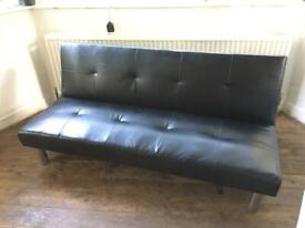 FAUX BLACK BLACK LEATHER CLICK CLACK SOFA BED