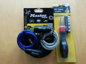 Two Master locks with keys NEW and mini socket set NEW