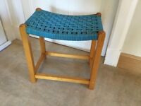 Vintage woven top mid height stool