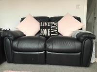 Leather reclining sofa - 2 seater