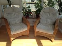 Two conservatory chairs with cream cushions - good condition and very comfy!