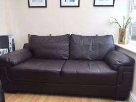 Leather 3 Seat Sofa in Chocolate Brown - Excellent Condition - Can deliver locally