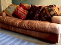Leather Brown 3 Piece Sofa