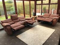 Harvey's Brown Suede 3 + 2 Seater Recliner Sofa Set Good Condition