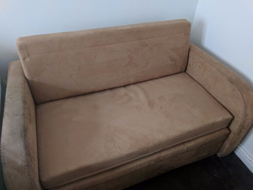 Sofa bed size small double suede dimensions 136cm x 86cm