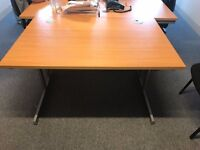 Beech and Silver Office Desk/Table with Cable Tidy Holes