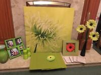 Joblot ornaments pictures etc. Apple and lime green
