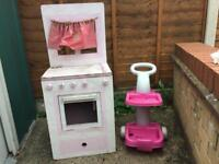 Children's Wooden Cooker And Cleaning Trolley