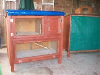 Rabbit hutch two tier wooden - brand new