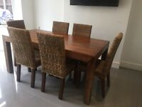 NEXT Solid Dining room table & 6 chairs