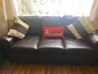 Two Three Seater Brown Real Leather Sofa 3 Seated Chair Settee