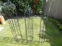 3 x Metal Garden Obelisks