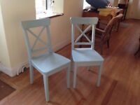 """ 2 solid painted wooden chairs"