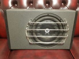 CAR SUBWOOFER SHALLOW MOUNT BALLISTIC AUDIO 400 RMS WITH SLIM ENCLOSURE AND GRILL SLIMLINE