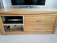 Oak TV and DVD cabinet for sale