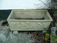 Garden trough, height 30cm, length 85cm, width 41cm. Bargain £15. Telephone: 07973858359.