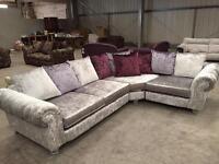 Brand new silver genuine crush velvet corner sofa