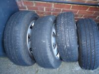 175/65/14 Renault Clio set of steel wheels with covers and tyres Twingo