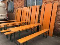 Vintage 2.2 metre Folding German wooden beer garden/patio trestle table/benches