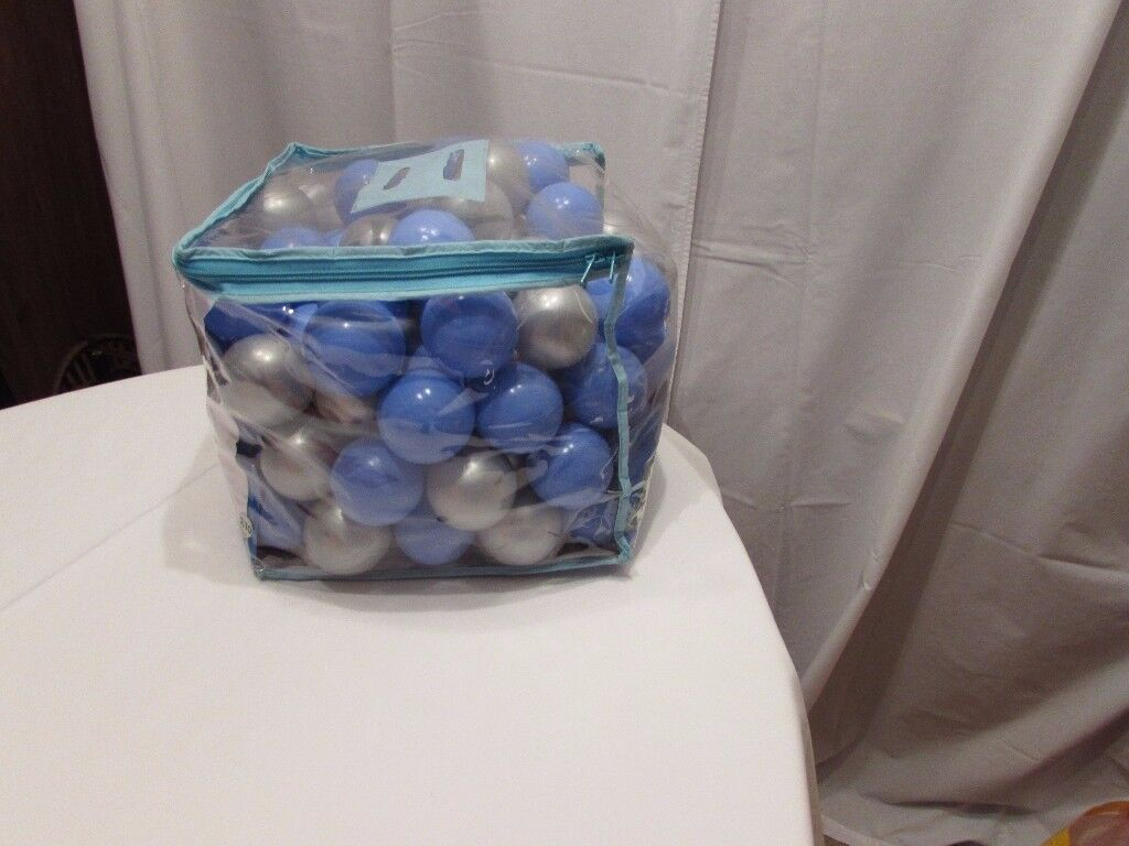 100 play balls in silver and blue from the Early Learning Centre. Excellent condition. P&SF home.