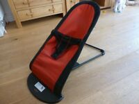 Baby Bjorn bouncer - excellent condition, red and black, reversible, washable cover