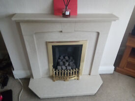 MARBLE HEARTH AND SURROUND AND SLIMLINE GAS FIRE