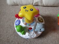 VTech Baby toys bundle - Fisher-Price Clock, Sea animal spinning top and Mobile phone