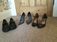 One pair clarks black leather shoes two pairs grey high heel shoes