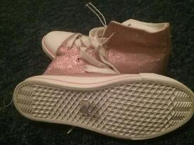 Pink sparkly lace ups, size 5