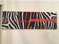 Zebra design bespoke custom large canvas + matching framed pic