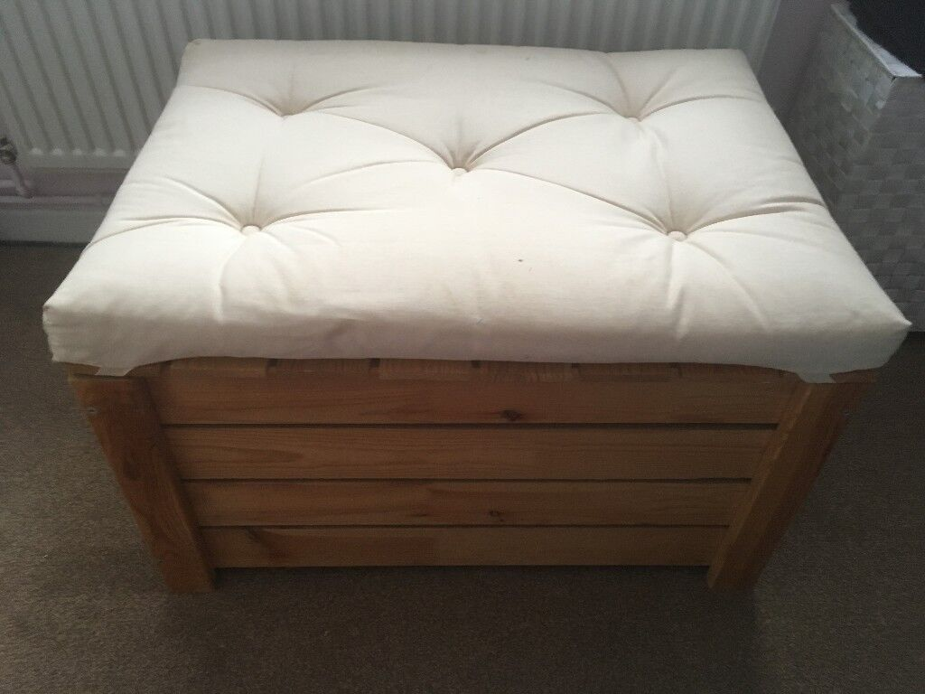 Ikea Grankulla Ottoman Cushion Top Seat Storage Box Ivory Cream Slatted Wood Chest Trunk Blankets In Backwell Bristol Gumtree