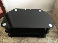 TV Stand Black Glass Chrome 60cm x 45cm - Cabinet Table