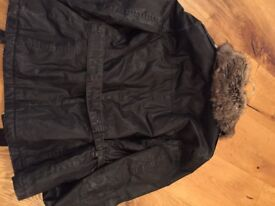 Top Shop wax jacket, quilted with belt size 10