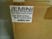2 x Flat packed JEMINI MAPLE tall modern storage shelve units