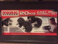 York Fitness 20kg Cast Iron Weight Set