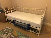 SSTC Cream Day Bed and Trundle with Single Mattress SSTC