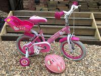 Girls Hello Kitty bike, pink and white, stabilisers, dolls carry seat plus helmet