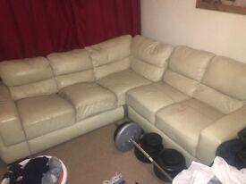 NEED TO GO Worn cream real leather corner sofa