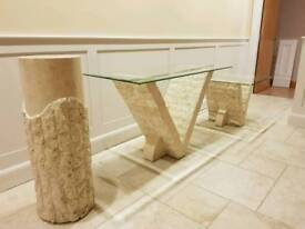 Marble affect tables and lamp stand