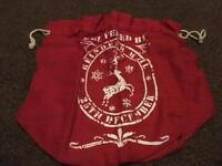 Red reindeer hessian Father Christmas vintage jute sack