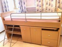 Mid Sleeper Cabin bed with bookshelf and storage