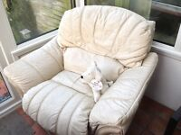 Cream Leather Recliner Lounge Chair