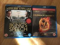 The kings speech and hunger games blue rays (not dvd)