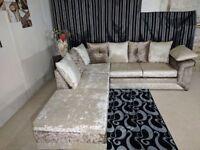 BRAND NEW JUMBO CORD CRUSH VELET DINO 3 And 2 seater corner sofa