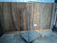 Warehouse ROLL CAGES wheeled trolley with Castor Board USED