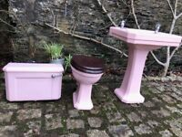 Art Deco - Pink Bathroom- Wash Basin-Toilet - Towel Holder-Toilet Roll Holder