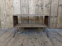 TV STAND side table AV stand box storage hairpin legs upcycle wood gplanera