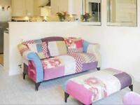"""DFS """"Shout"""" sofa, high back chair and footstool"""