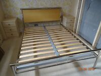 King size Wooden Bed Frame- Stainless Steel frame